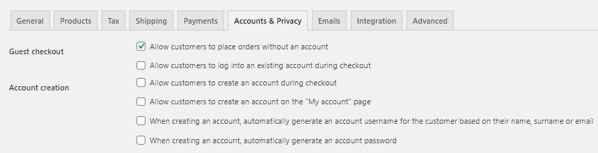 Disable WooCommerce Account Creation